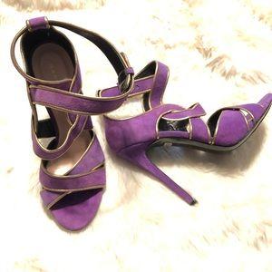 Barbara Bui Purple Gold Strappy Heels Sz 38